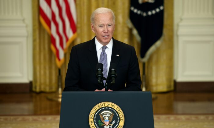 President Joe Biden gives an update on his administration's COVID-19 response and vaccination program in the East Room of the White House in Washington, on May 17, 2021. (Anna Moneymaker/Getty Images)