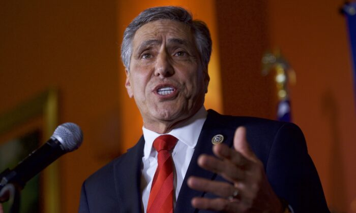 Then Rep. Lou Barletta (R-Pa.) addresses supporters for his Senate bid, in Hazleton, Pa., on May 15, 2018. (Mark Makela/Getty Images)