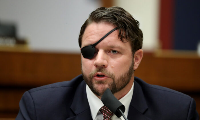 House Homeland Security Committee member Rep. Dan Crenshaw (R-Texas) speaks during a hearing in the Rayburn House Office Building on Capitol Hill in Washington, on Sept. 17, 2020. (Chip Somodevilla/Getty Images)