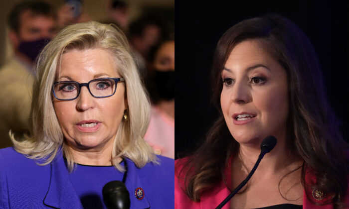 Rep. Liz Cheney (R-Wyo.) (L) and Rep. Elise Stefanik (R-N.Y.) are seen in file photographs in Washington. (Reuters; Getty Images)