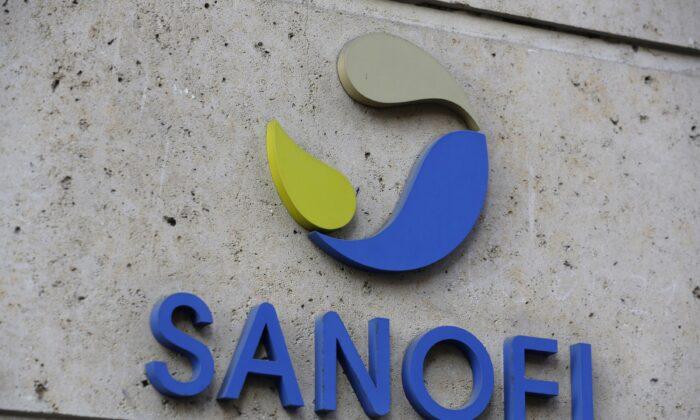 The logo of French drug maker Sanofi is seen in Paris on Nov. 30, 2020. (Thibault Camus/AP Photo)
