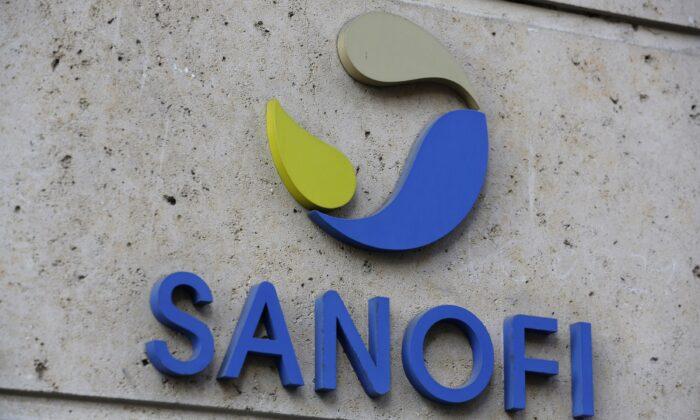 The logo of French drug maker Sanofi is seen in Paris, France on Nov. 30, 2020. (Thibault Camus/AP Photo)