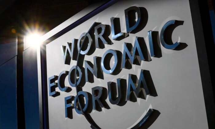 A sign of the World Economic Forum is seen in Davos, Switzerland, on Jan. 20, 2017. (Fabrice Coffrini/AFP via Getty Images)