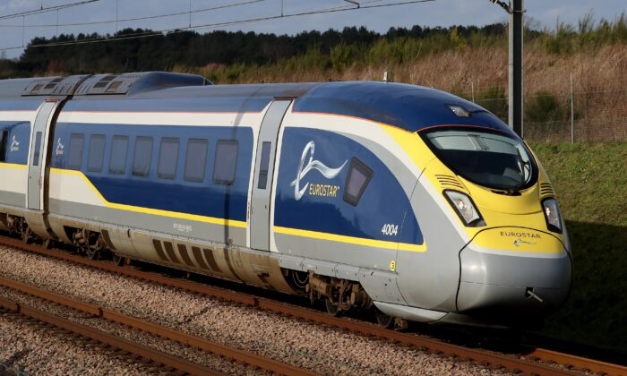 A Eurostar e320 high-speed train heads towards France through Ashford in Kent, UK, on May 18, 2021. (PA Image)