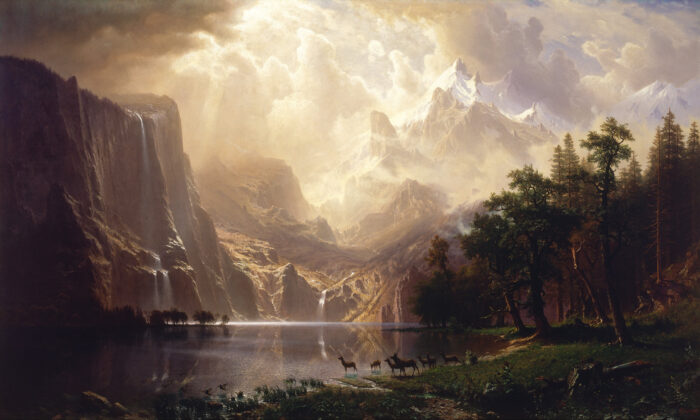 """Among the Sierra Nevada, California,"" by Albert Bierstadt, circa 1868. Oil on canvas. Smithsonian American Art Museum (public domain)."
