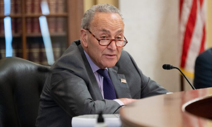 US Senate Majority Leader Senator Chuck Schumer, Democrat of New York, attends a Senate Administration and Rules Committee mark up business meeting  on Capitol Hill in Washington, DC, May 11, 2021. (Saul Loeb/AFP via Getty Images)