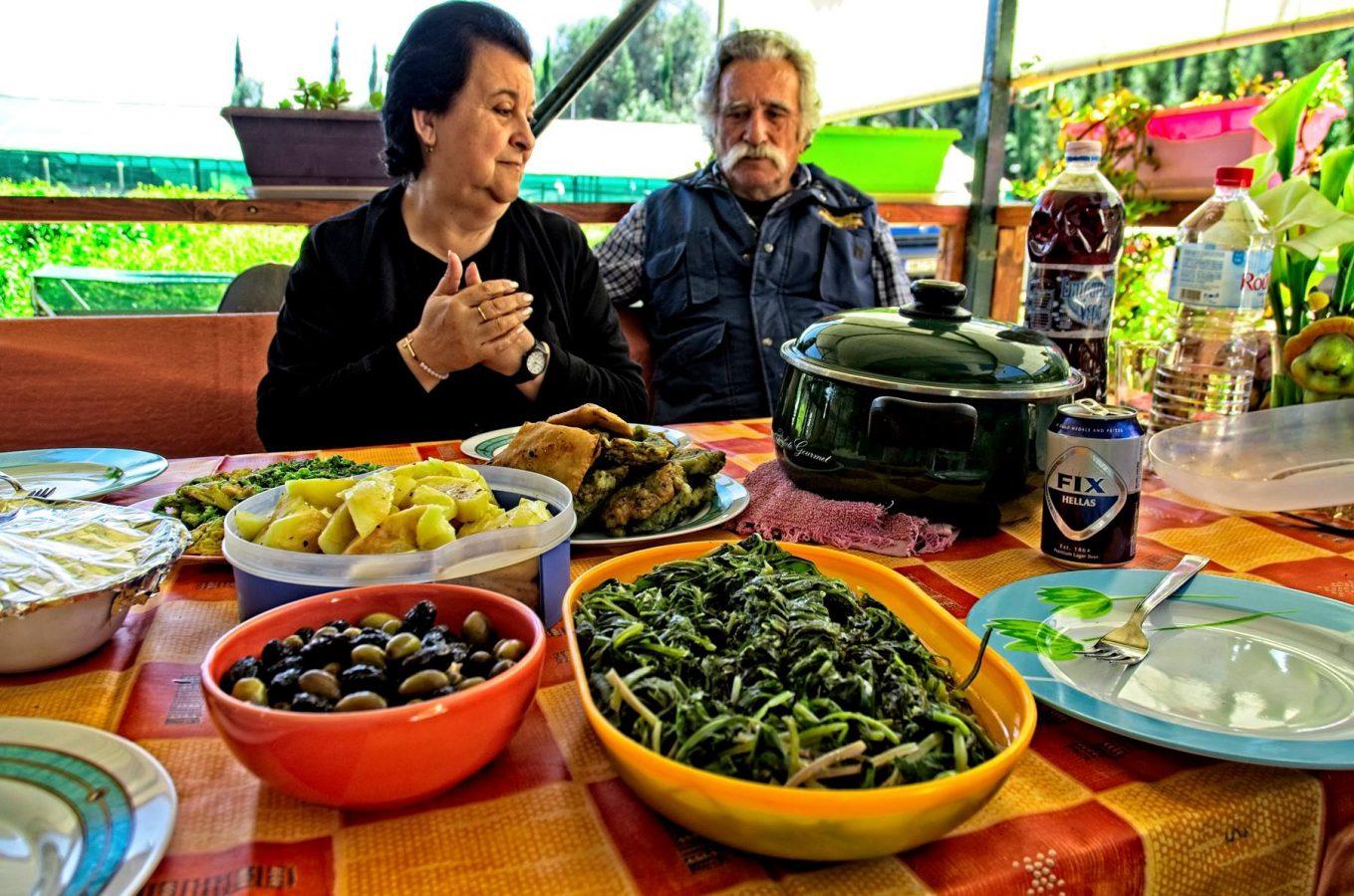 Horta at a Cretan table - courtesy Snail Farm and Fun