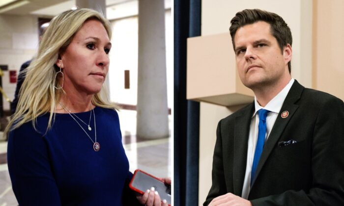 (left-right) U.S. Rep. Marjorie Taylor Greene (R-Ga.) arrives at the Capitol in Washington, on May 13, 2021. (Kevin Dietsch/Getty Images); Rep. Matt Gaetz (R-Fla.) in the Longworth House Office Building on Capitol Hill in Washington, on Dec. 12, 2019. (Sarah Silbiger/Getty Images)