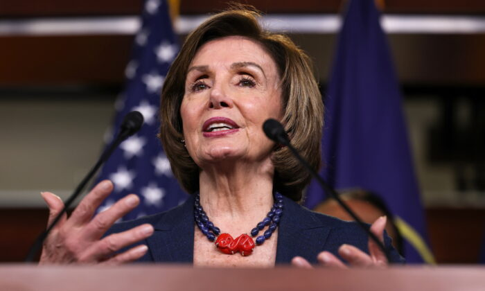 Speaker of the House Nancy Pelosi (D-Calif.) speaks at a news conference in the U.S. Capitol about the COVID-19 Hate Crimes Act, in Washington, on May 18, 2021. (Evelyn Hockstein/Reuters)