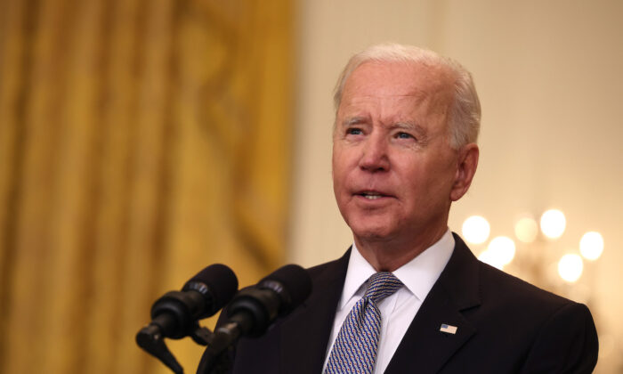 President Joe Biden speaks at the White House in Washington, on May 17, 2021. (Anna Moneymaker/Getty Images)