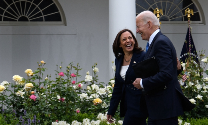 Vice President Kamala Harris and President Joe Biden leave after Biden delivered remarks on COVID-19 response and the vaccination program from the Rose Garden of the White House in Washington, D.C., on May 13, 2021. (Nicholas Kamm / AFP)