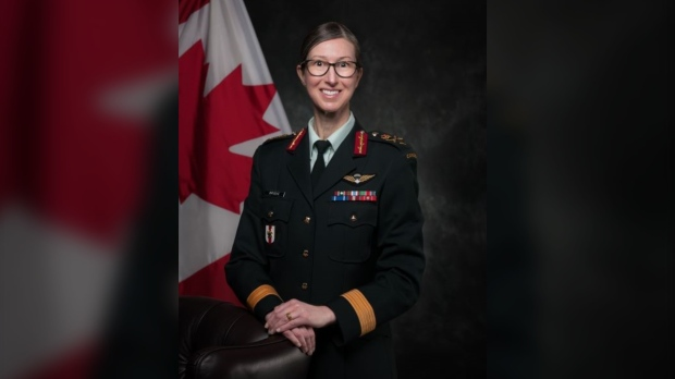 Brig.-Gen. Krista Brodie is seen in an undated handout image. The federal Liberal government is enlisting another military officer to oversee Canada's COVID-19 vaccination campaign. The Public Health Agency of Canada says Brig.-Gen. Brodie will lead the campaign after Maj.-Gen. Dany Fortin was forced to step aside due to a military investigation. (The Canadian Press/HO-Public Health Agency of Canada, *Mandatory Credit*)
