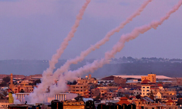 Rockets are launched toward Israel from the southern Gaza Strip on May 17, 2021. (Said Khatib/AFP via Getty Images)