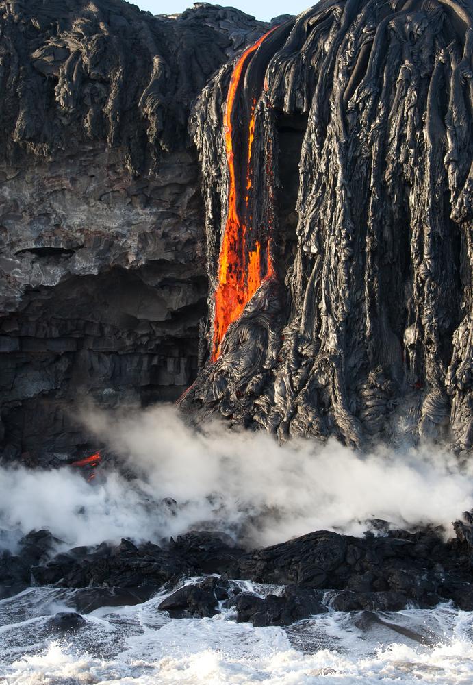 Red,Hot,Lava,Fall,Entering,Ocean,,Big,Island,,Hawaii