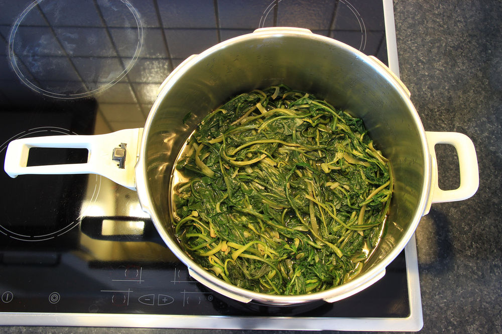 """Cooked,Dandelion,""""radikia"""",Green,Salad,In,A,Pot,At,A"""