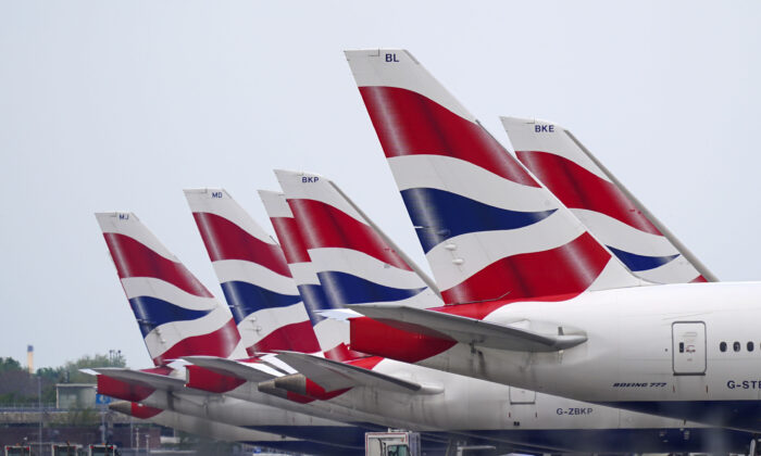 British Airways planes at Heathrow Airport, West London on May 17, 2021. (Steve Parsons/PA)
