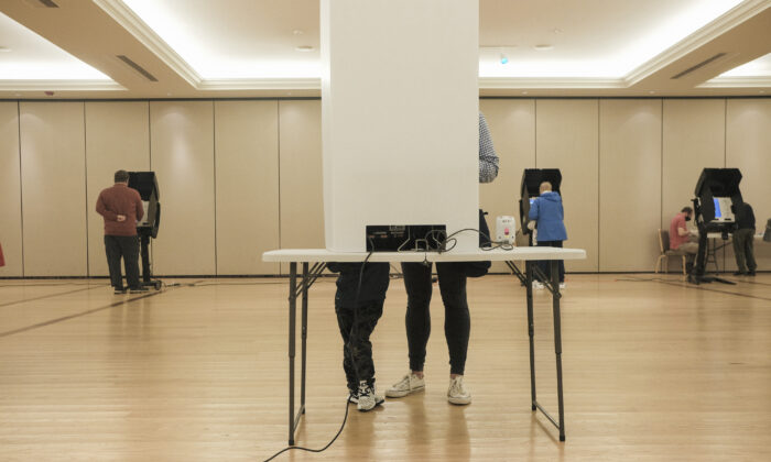 Voters cast their ballots on Election Day at a polling station in Ohio, on Nov. 3, 2020. (Matthew Hatcher/Getty Images)