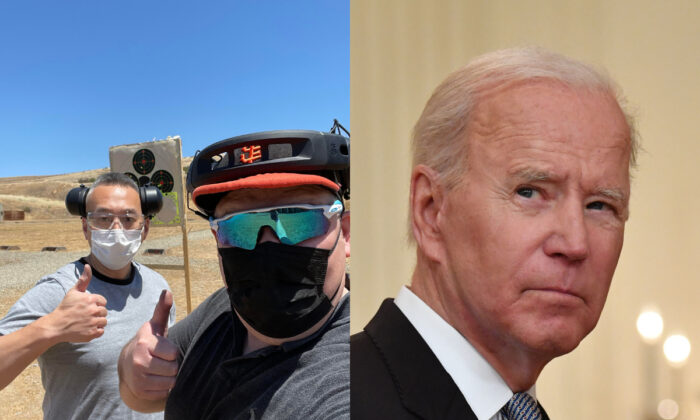 (L) Scott Kane (R) and a member of AAPI GO pose during an unofficial meet up at a gun range, Calif., on May 16, 2021.   (R) President Joe Biden at the White House in Washington, on May 17, 2021. (Courtesy of Scott Kane; Getty Images)