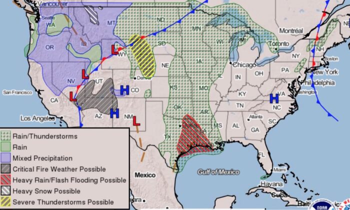 Weather forecast issued by the National Weather Service on May 19, 2021. (NWS)