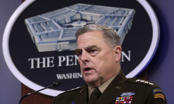 Chairman of the Joint Chiefs of Staff General. Mark Milley participates in a news briefing at the Pentagon in Arlington, Va., on May 6, 2021. (Alex Wong/Getty Images)