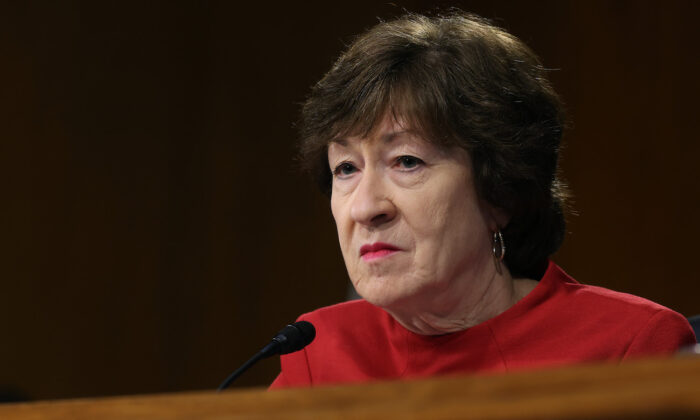 Senate Appropriations Committee member Sen. Susan Collins (R-Maine) at a hearing in the Dirksen Senate Office Building on Capitol Hill in Washington, on April 20, 2021. (Chip Somodevilla/Getty Images)