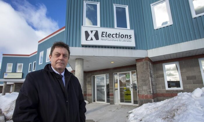 Newfoundland and Labrador Chief Electoral Officer Bruce Chaulk is shown outside of his office in St. John's, on February 18, 2021. (Paul Daly/The Canadian Press)