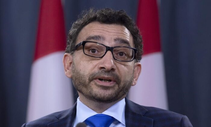 Omar Alghabra, Parliamentary Secretary to the Prime Minister attends a news conference on the Iran plane crash, on January 15, 2020 in Ottawa. (Adrian Wyld/The Canadian Press)