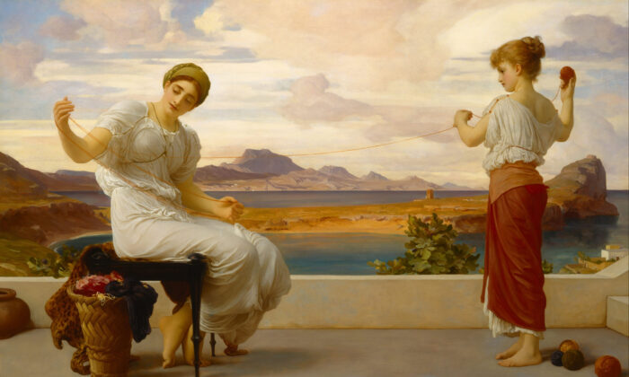 """""""Winding the Skein,"""" circa 1878, by Frederic Leighton. Oil on Canvas, 39.4 inches by 63.5 inches. Art Gallery of New South Wales, Sydney, Australia. (Public Domain)"""