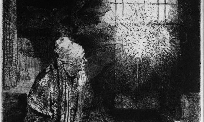 """By selling his soul to the Devil, Faust gains access to esoteric knowledge. A detail from """"Faust,"""" circa 1652, by Rembrandt. Rijksmuseum, Amsterdam, Netherlands. (Public Domain)"""