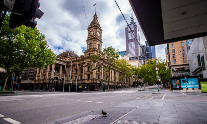 A general view of an empty street in the central business district in Melbourne, Australia, on February 14, 2021. (Wayne Taylor/Getty Images)
