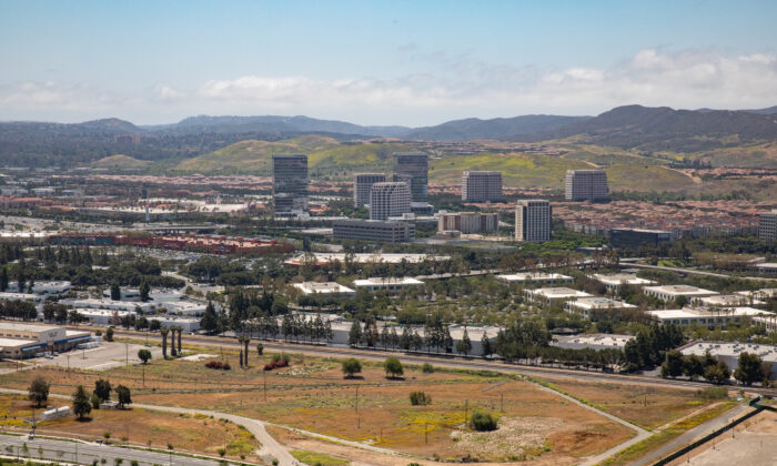 A view from the Orange County Great Park Balloon in Irvine, Calif., on May 6, 2021. (John Fredricks/The Epoch Times)