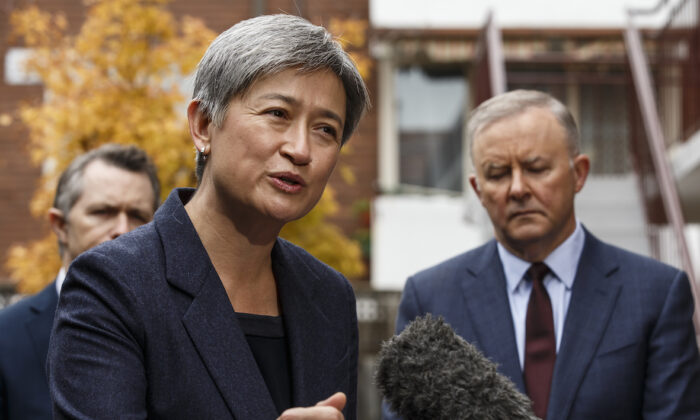 Australia's Shadow Foreign Affairs Minister Senator Penny Wong speaks to the media along side leader of the opposition, Anthony Albanese, in Melbourne, Australia, on May 18, 2021. (AAP Image/Daniel Pockett)