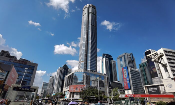 The 300-metre SEG Plaza in Shenzhen in China's southern Guangdong province on May 19, 2021, a day after it triggered widespread panic when it began shaking and was evacuated. (STR/AFP via Getty Images)