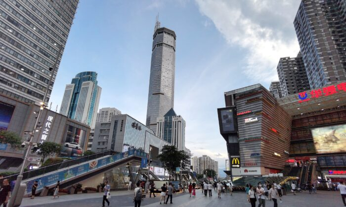 The 300-metre high SEG Plaza (C) is seen after it began to shake, in Shenzhen in China's southern Guangdong province on May 18, 2021. (STR/AFP via Getty Images)