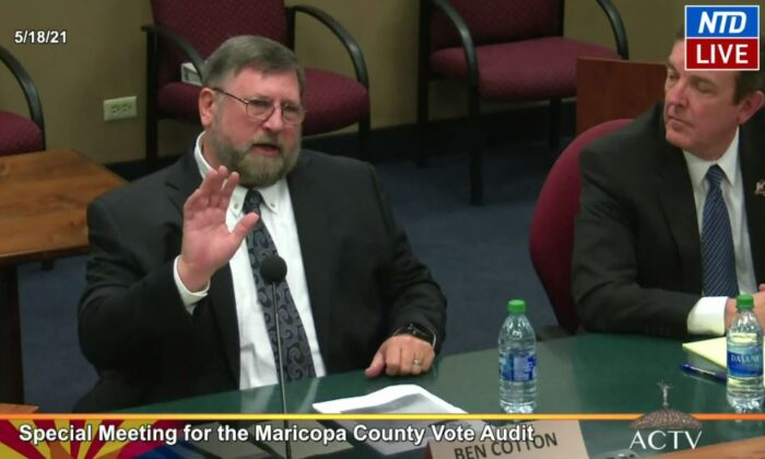 Ben Cotton, founder of CyFIR, one of four firms working on the 2020 election audit in Maricopa County, Ariz., testifies to state senators in Phoenix on May 18, 2021. (Arizona Capitol Television via NTD/Screenshot via The Epoch Times)