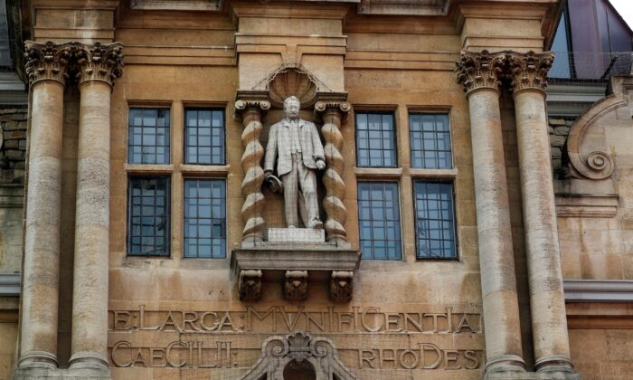 The controversial statue of colonialist Cecil Rhodes at Oriel College, University of Oxford, UK, on May 20, 2021. (PA Media)