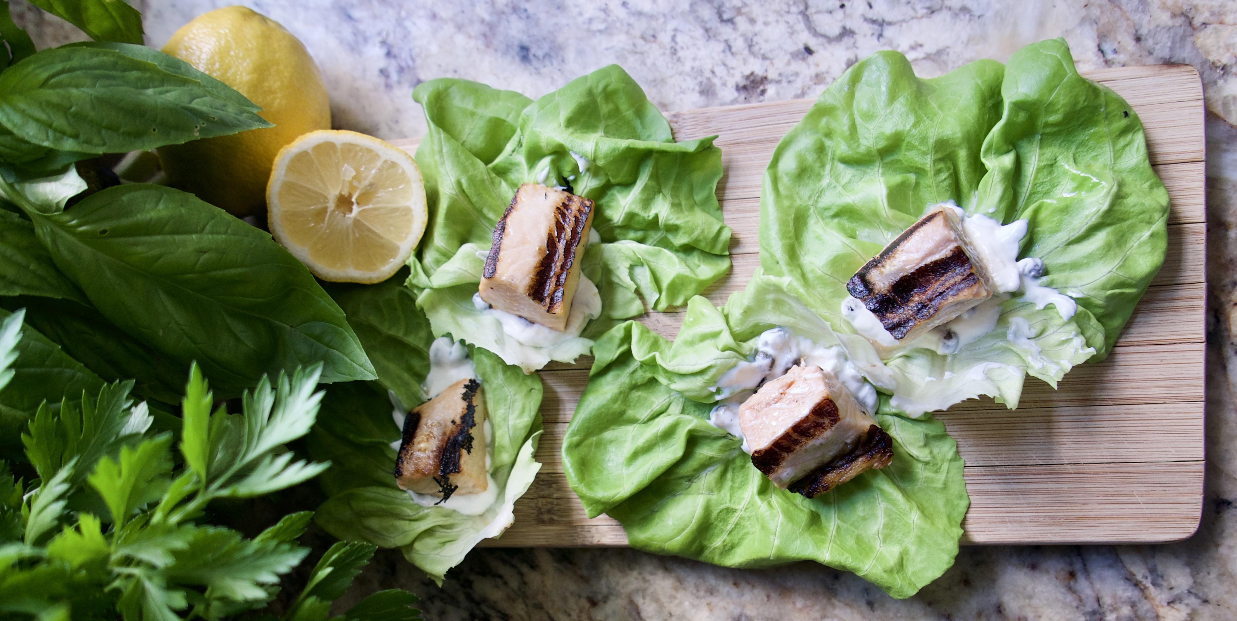 grilled salmon wraps