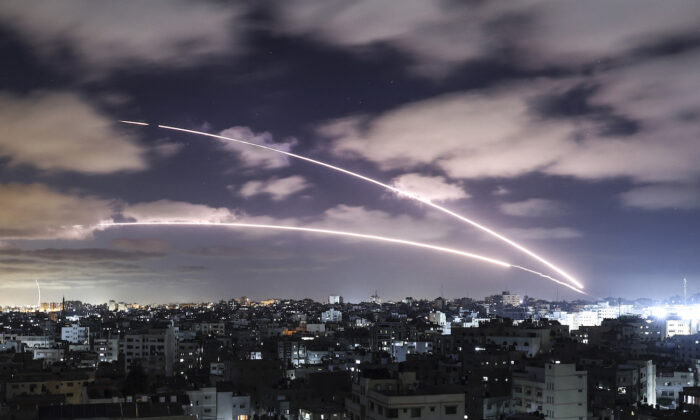 Rockets are launched towards Israel from Gaza City, controlled by the Hamas terrorists, on May 18, 2021. (Mahmud Hams/AFP via Getty Images)