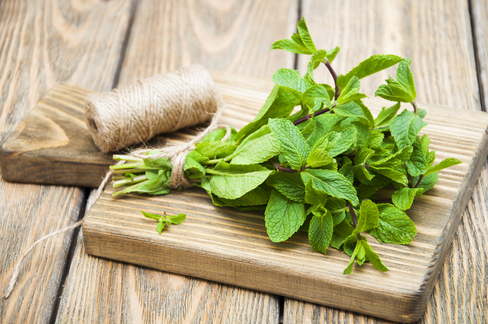 Fresh,Mint,On,A,Wooden,Background