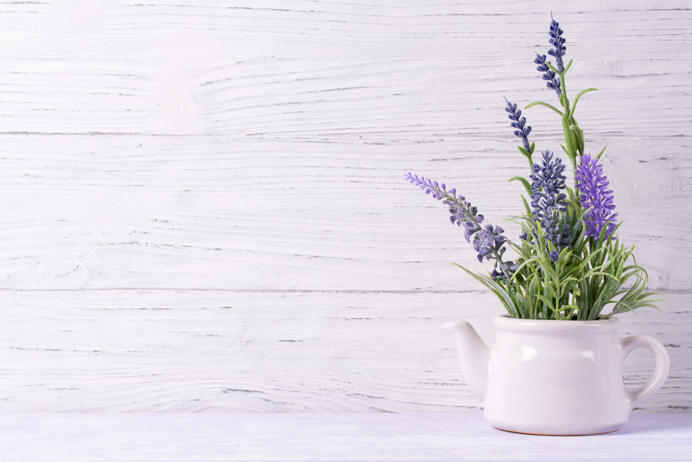 Lavender,Flowers,In,Watering,Can,,Wooden,Background,,Copy,Space