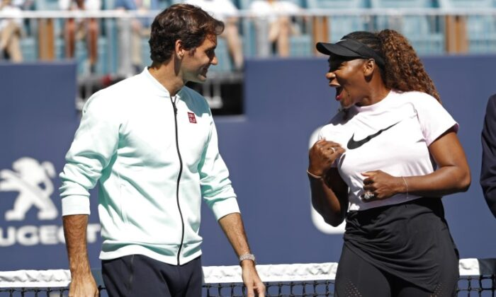 Serena Williams of the United States (R) speaks with Roger Federer of Switzerland (L) during a ribbon cutting ceremony on new stadium court at Hard Rock Stadium prior to play in the first round of the Miami Open at Miami Open Tennis Complex, in Miami Gardens, Fla., on March 20, 2019.  (Geoff Burke/File/USA TODAY Sports)