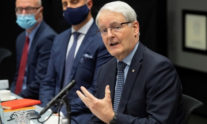 Canadian Foreign Minister Marc Garneau, speaks during a meeting with US Secretary of State Antony Blinken, at the Harpa Concert Hall in Reykjavik, Iceland, on May 19, 2021, on the sidelines of the Arctic Council Ministerial summit. (The Candian Press/  POOL PHOTO via AP / AP-SAUL LOEB