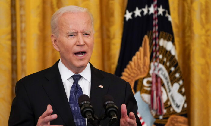 President Joe Biden speaks before signing the COVID-19 Hate Crimes Act into law, in the East Room at the White House in Washington, on May 20, 2021. (Kevin Lamarque/Reuters)