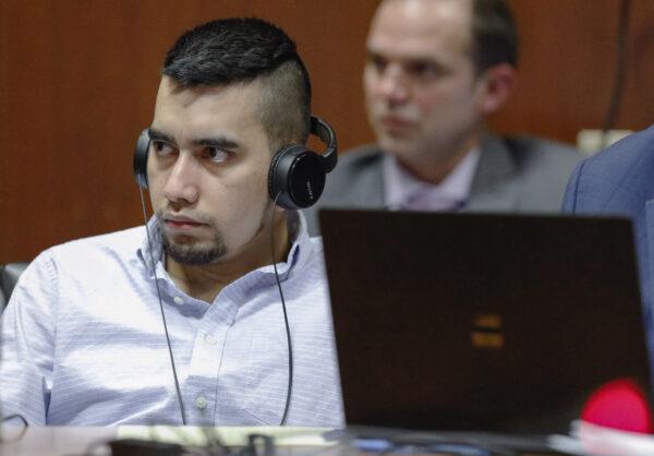 Cristhian Bahena Rivera listens to testimony