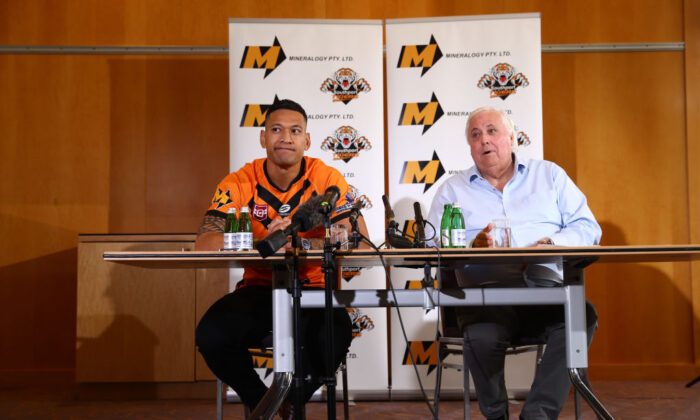 Israel Folau and Clive Palmer speak to the media during a press conference at the Hilton Hotel on May 21, 2021 in Brisbane, Australia. (Chris Hyde/Getty Images)