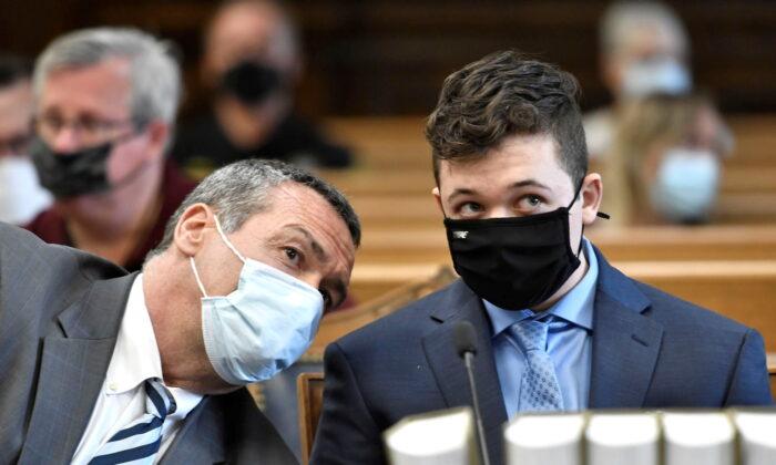 Kyle Rittenhouse listens during his pretrial hearing at the Kenosha County Courthouse in Kenosha, Wis., on May 21, 2021. (Sean Krajacic/Kenosha News/Pool via Reuters)