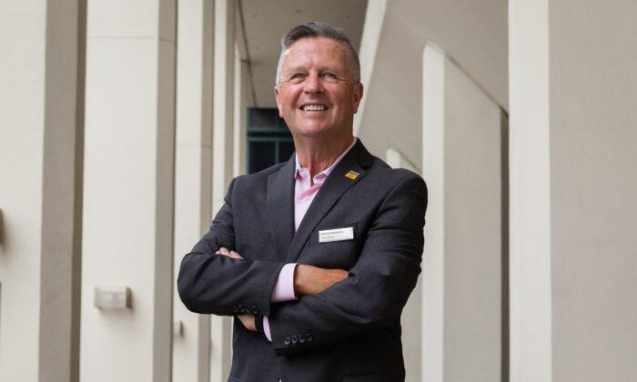 Anaheim Hilton Hotel general manager Shaun Robinson in Anaheim, Calif., on May 19, 2021. (John Fredricks/The Epoch Times)