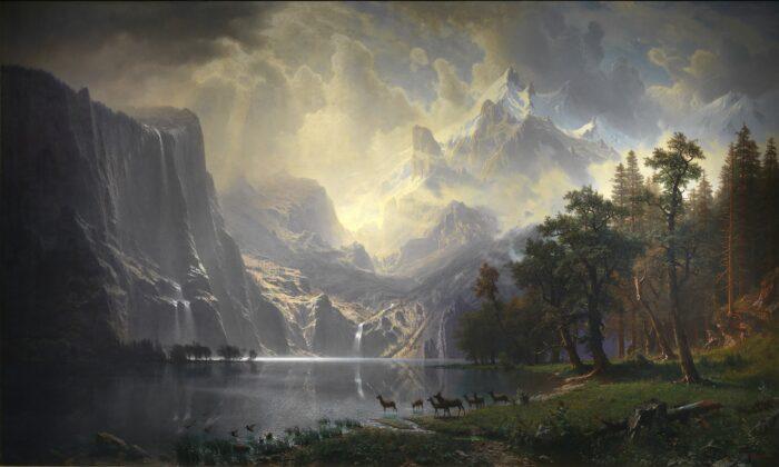 """Among the Sierra Nevada, California,"" 1868, by Albert Bierstadt. Oil on canvas, 10 feet by 6 feet. Smithsonian American Art Museum. (Public Domain)"