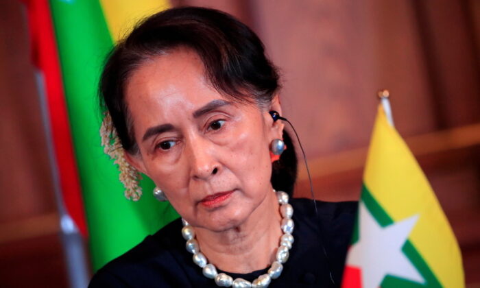 Burma's State Counsellor Aung San Suu Kyi attends the joint news conference of the Japan-Mekong Summit Meeting at the Akasaka Palace State Guest House in Tokyo, Japan on Oct. 9, 2018. (Franck Robichon/Pool via Reuters)