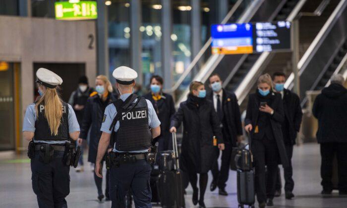 Border Police walk in Terminal 1 of Frankfurt Airport in Frankfurt, Germany, on Jan. 28, 2021. (Thomas Lohnes/Getty Images)